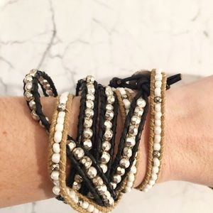 Jewelry - Two Beaded Wrap Bracelets Layering Layered Silver